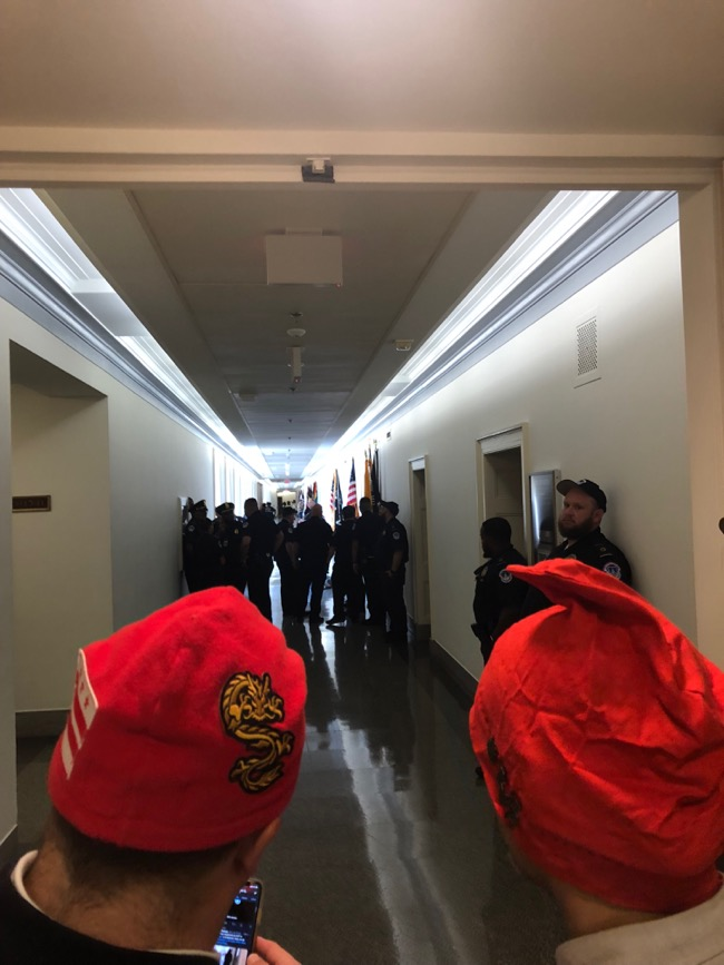 DCMJ Phrygians in the hallway outside Rep. Harris office